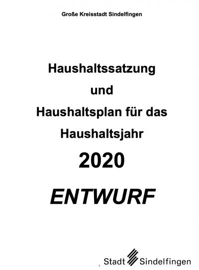 Haushaltssatzung Sindelfingen - Deckblatt des Haushaltsplans 2020