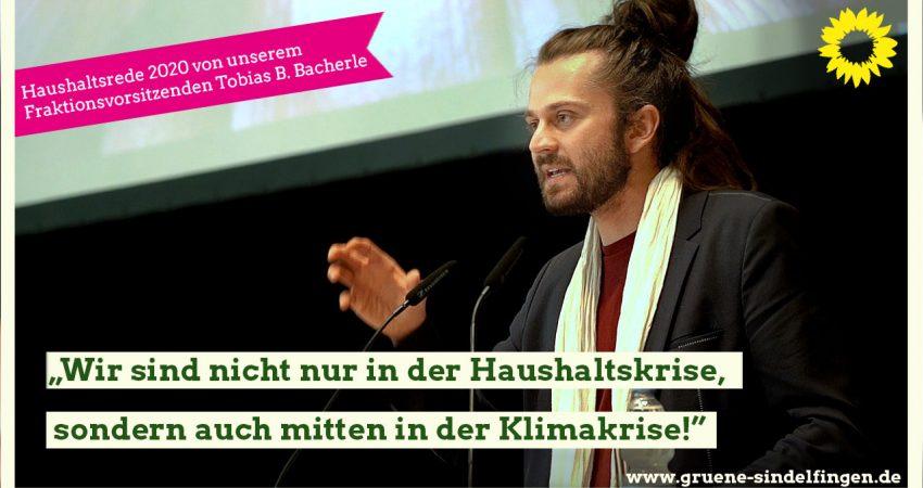 Fraktionsvorsitzender Tobias Bacherle bei seiner Haushaltsrede